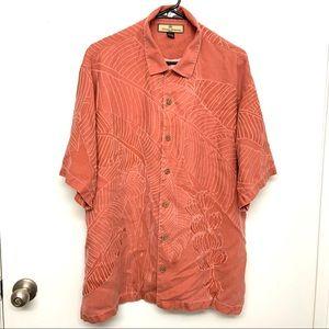 Tommy Bahama Faded Orange Leaf Silk Hawaiian Shirt